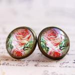 red rose earrings, red rose stud ea..