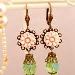 Pink and green petit drop dangle ea..