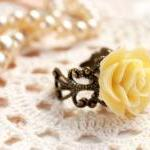 Yellow rose ring, resin flower ring..