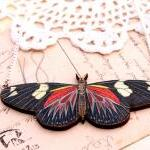 Red moth necklace, entomology jewel..
