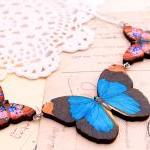 Blue butterfly necklace, jewel tone..