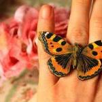 Blue butterfly ring, wooden butterf..