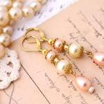 pink and ivory pearl drop earrings,..