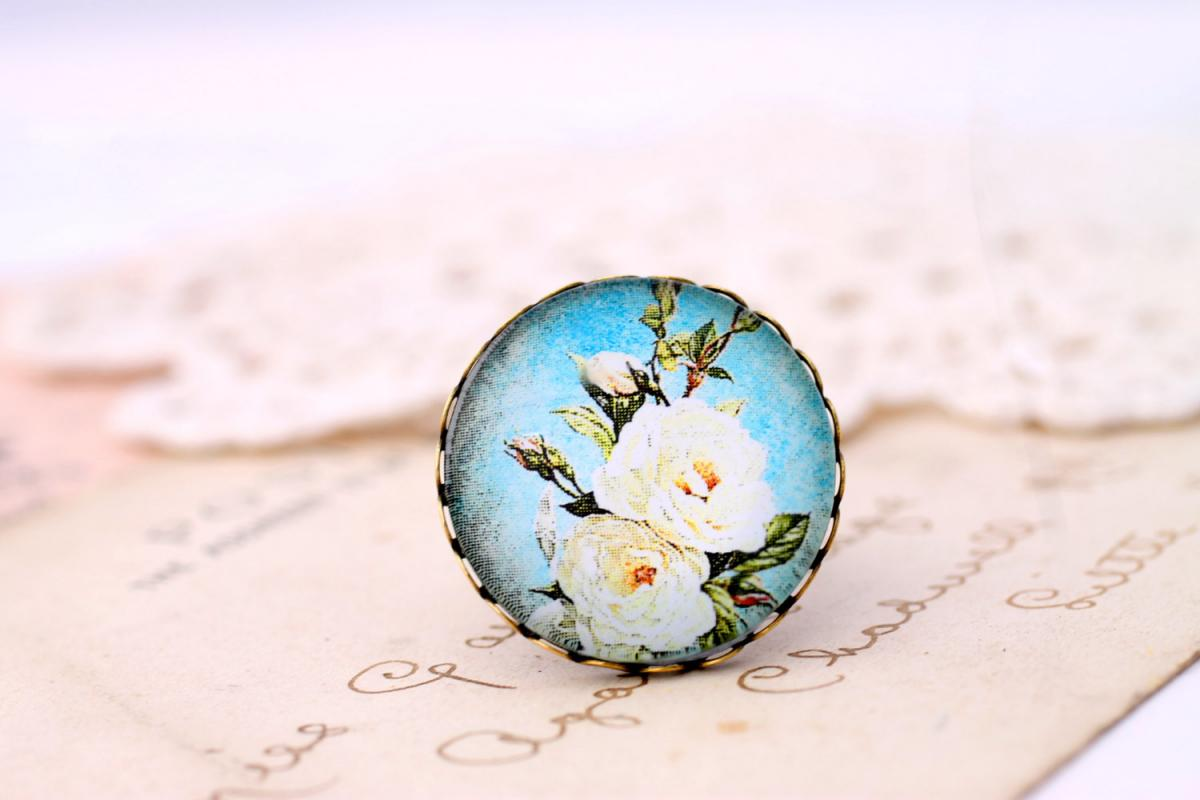 Ivory rose ring, blue rose ring, blue floral ring, romantic photo ring, romantic jewelry