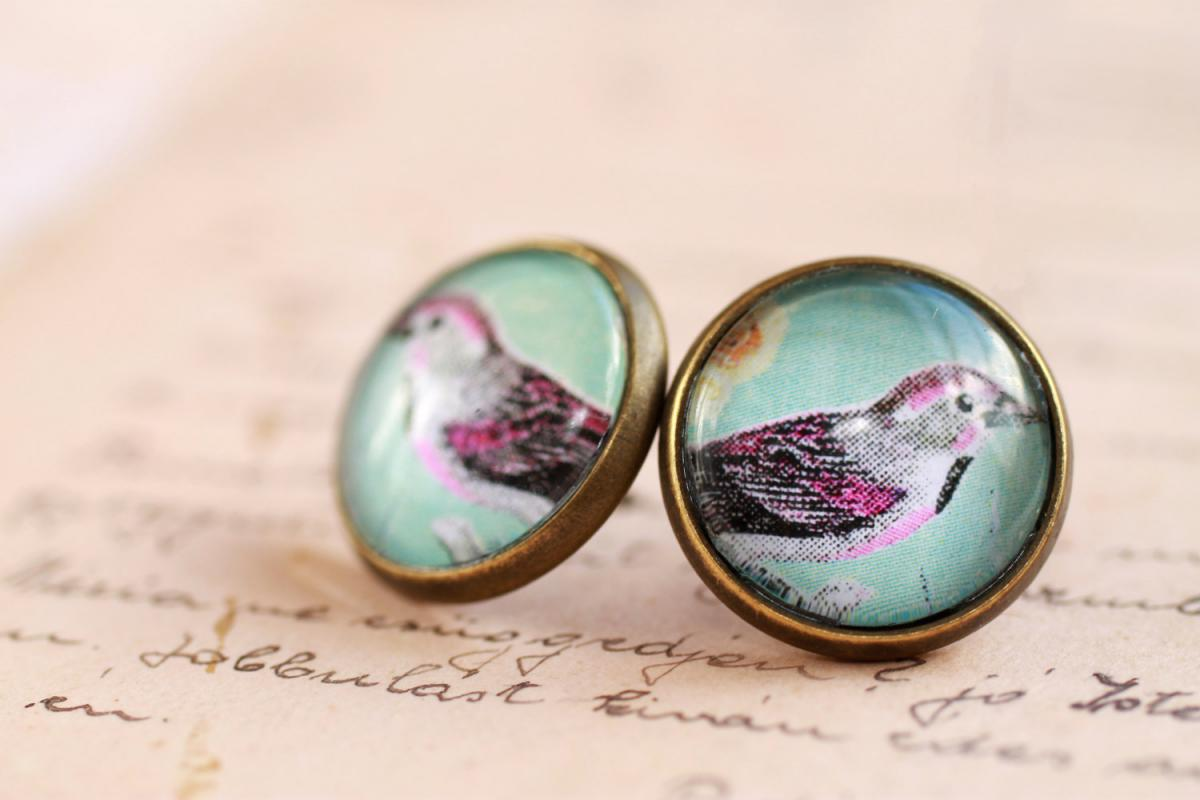 blue bird earrings, mint green earrings, glass bird picture earrings, colorful earrings, nickel free studs