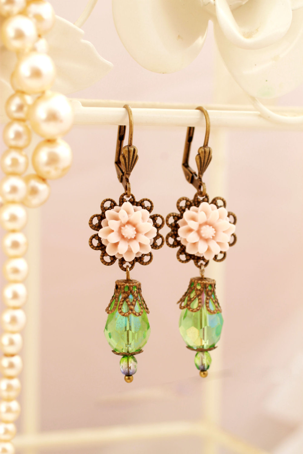 Pink and green petit drop dangle earrings, pale pink drop earrings, romantic earrings, Victorian earrings