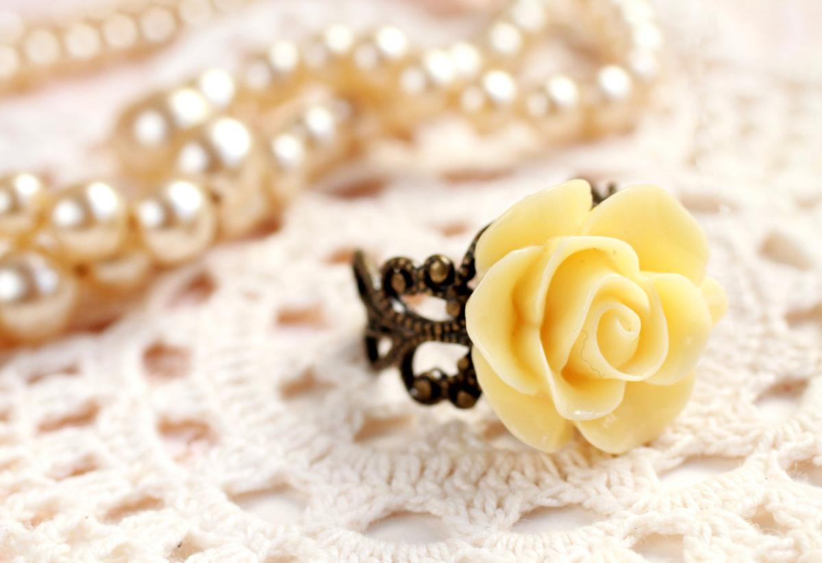 Yellow rose ring, resin flower ring, resin rose ring, Yellow flower ring