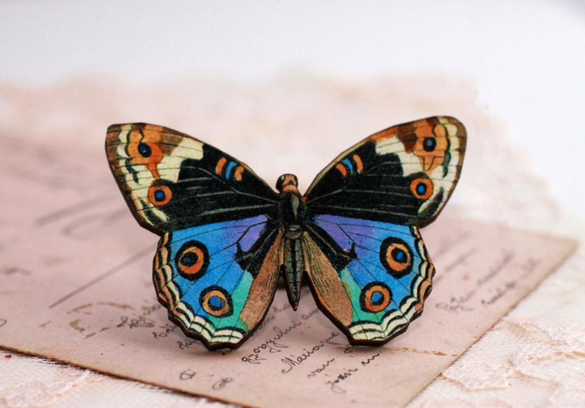 Blue butterfly ring, butterfly jewelry, statement ring, colorful jewelry, wooden jewelry