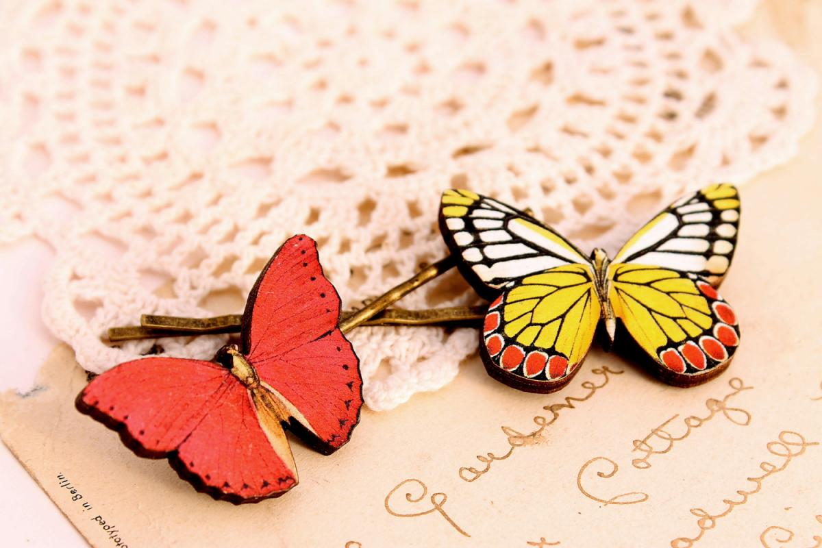 Butterfly hair clips, butterfly hair pin, woodland wedding, natural wedding, butterfly jewelry, bridesmaid hair clip