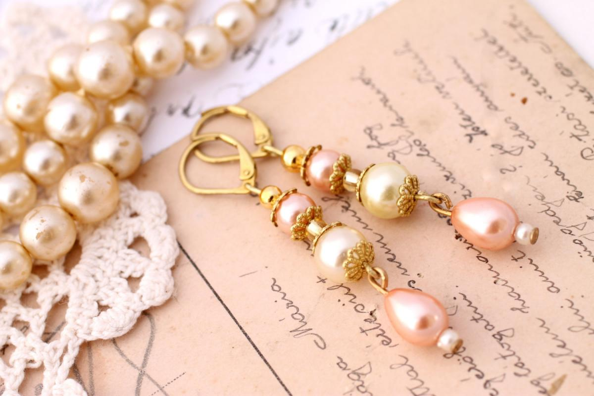 pink and ivory pearl drop earrings, pearl dangle earrings, pearl bridal jewelry, feminine jewelry