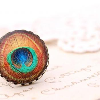 Jewel tone peacock ring, gold peacock feather ring, Victorian jewelry, boho jewlery