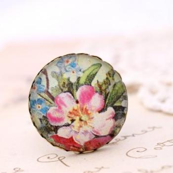 Pink rose ring, colorful flower ring, forget me not ring, floral ring, romantic jewelry
