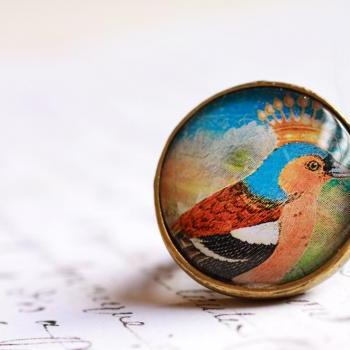 Chaffinch bird ring, blue bird ring, adjustable bird ring, bird picture ring, colorful bird jewelry