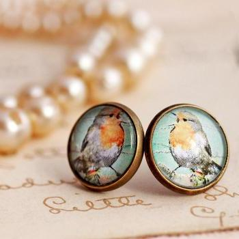 Blue Robin earrings, robins egg blue earrings, bird stud earrings, bird jewelry