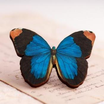 Blue butterfly brooch, realistic butterfly, bright blue, royal blue, laser cut wood