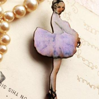 Pink ballerina brooch, ballet dancer, laser cut jewelry, handmade brooch, gift for girl